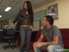 Latina Monica Velasquez strips and gets fucked in the office