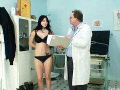 Busty Adriana gyno pussy speculum examination at clinic