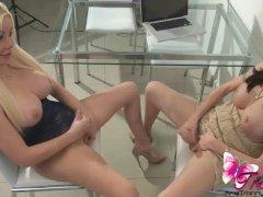 Ana Mancini and Mariana Cordoba sucking cock