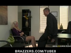 BIG TIT BLOND MILF WIFE IN STOCKINGS FUCK BOSS  DICK IN OFFICE FOR JOB