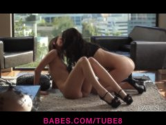 Hot young lesbian couple strip down and play outside by the pool