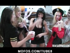 Group of girlfriends start an orgy at a Halloween party