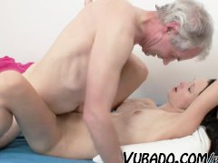 SLIM BRUNETTE FUCKED BY AN OLD MAN