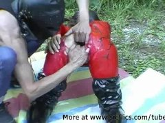 Bizarre slut fist fucked outdoors in her gaping cunt