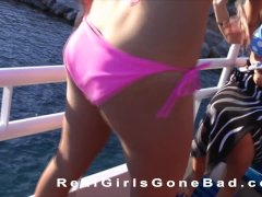 English and Irish college girls get naked and wild on a sexy boat party