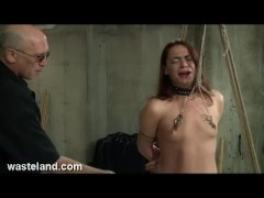 Wasteland Dungeon Master Ties Up Submissive Ten  Nipple Clamps and Whips
