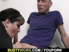 Huge titted secretary pleases her boss