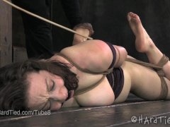 Brunette Foot Tortured in a Hogtie