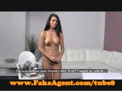 FakeAgent Shy brunette takes spunk shower in Casting