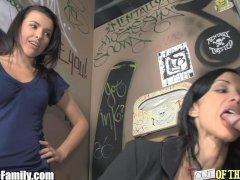 Mom and Teen Sucks Cock Through Glory Hole