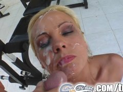 Cum For Cover Mariana s four dick melee ends in messy face