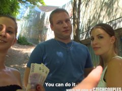 CZECH COUPLES Young Couple Takes Money for Public Foursome