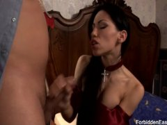 Hot Vampire chick get cum over her perfect boobs