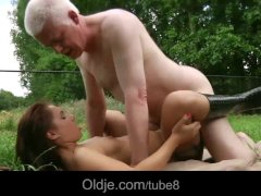 Young lady sucking old farmer dick  hard fucking and long penetration
