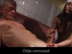Teen cleaning lady eats old sausage