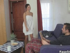 Czech cute takes hard fucking after shower