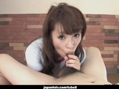 Adorable Japanese teen wanks and sucks her man s hard wang