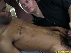 Straight guys handjob from weird gay guy
