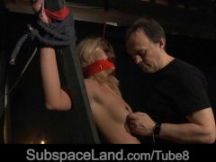 Kinky foreplay in bdsm game for hot blonde bitch