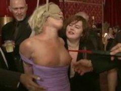 Harshly tied blonde fingered spanked and fucked in violent bondag