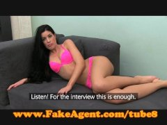 FakeAgent Brunette's pussy hungry for spunk