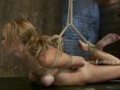Naked slut tied suspended from ceilling fucked in rough deepthroa
