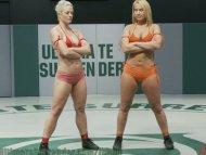 Hot blondes nude wrestlin...