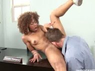 ebony teen teasing and le...