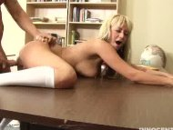 horny blonde teen getting...