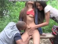 Outdoor blowjob and lesbi...