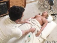 Busty Blonde in Spa Salon