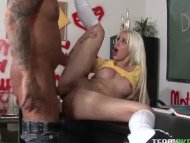 blonde schoolgirl gets fu...