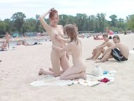 Teen nudists take off the...