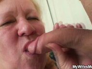 Horny granny seduces her ...