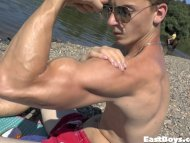 Handjob and Outdoor Flexing