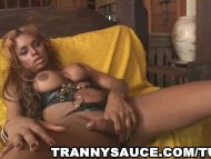 ebony tranny in leather t...