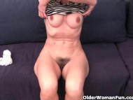 Hairy granny has a wet sp...