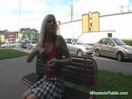 Blonde whore takes big co...
