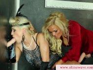 Bukkake lesbians using st...