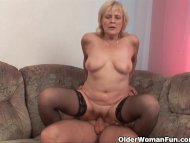 Grandma in stockings gets...
