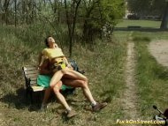 Slut gets anal fuck in park