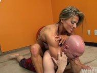 Muscular Blonde Wrestles ...