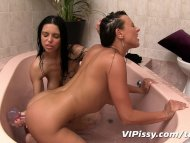 Sexy girlfriends bathe in...