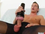 Gay guy teasing his cock ...