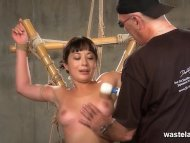 She is tied up suspended ...