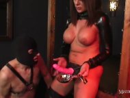 Mistress makes gimp suck ...
