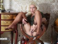 Horny blonde cougar house...
