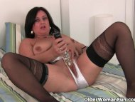 Hard nippled milf wears s...