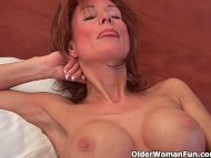 Sultry grandma probes her...