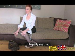 FakeAgentUK Slim British amateur redhead gets fucked on film by con artist